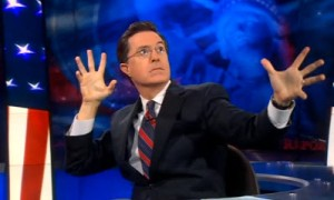 Colbert reaching into the ether